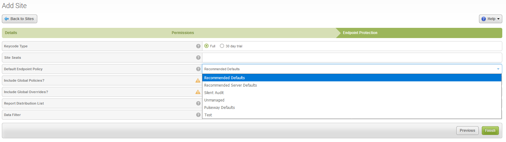 Configuring Webroot Endpoint Protection